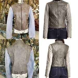 Olive Leather Motor Jacket Canvas Sleeves NWOT